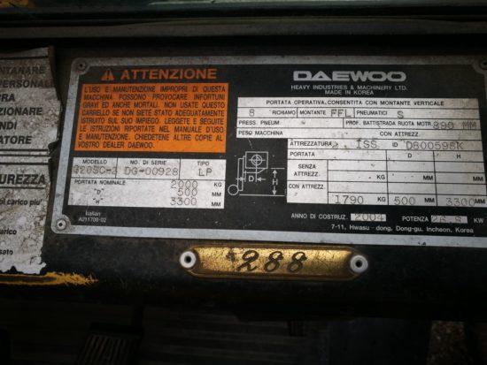 Газов мотокар Daewoo G20SC 2000kg
