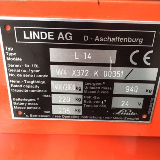 Стакер Linde L14i 372 1400 kg