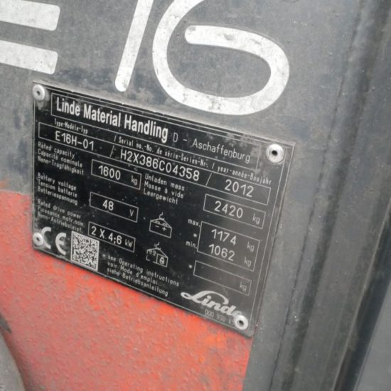 Електрокар 3-опорен Linde E16H 386